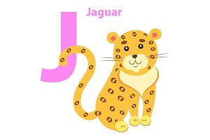 English Nursery card with Lilac Character J Jaguar