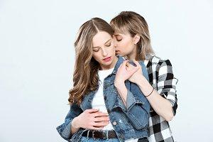 young lesbian couple hugging