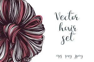 Vector woman's hairstyle