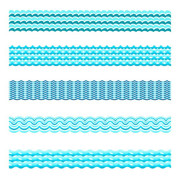 Seamless Blue Water Wave Bands