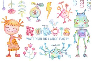 Watercolor Robots Party