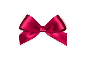Shiny pink satin ribbon on white background