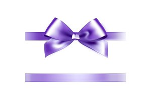 Shiny purple satin ribbon on white background