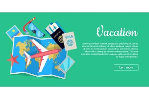 Vacation Conceptual Flat Style Vector Web Banner