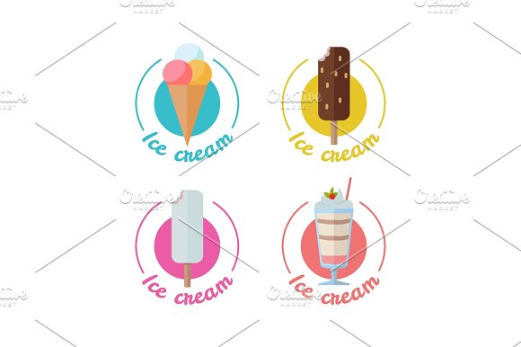 Ice Cream Set Isolated On White Different Types