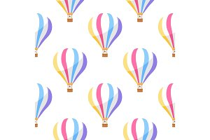 Airballoon with Colorful Stripes Seamless Pattern