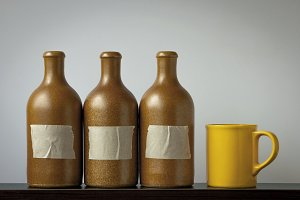 Ceramic bottles and a cup