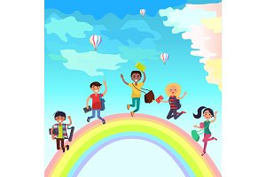 Happy Jumping Students on Rainbow Illustration