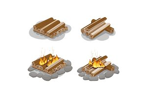 Firewood Lighted and Unlighted Fire Illustration