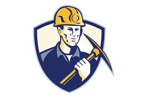 Coal Miner With Pick Axe Shield Retr
