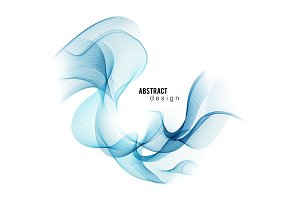 Blue abstract color wave. Vector smoke lines.