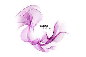 Purple abstract color wave. Vector smoke lines.