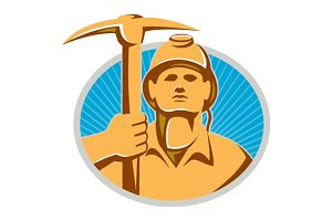 Coal Miner With Pick Ax Hardhat Fron