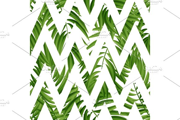 Tropical Palm Leaves Vector Seamless