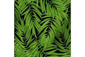 Tropical Palm leaves. Vector seamless