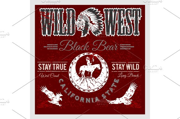 Set Of Wild West American Indian Designed Elements Monochrome Style