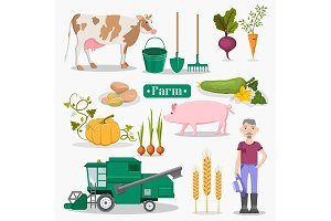 Farm Worker, Animals and Plants Illustrations Set