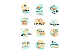 Set of Summer Logo Icons. Summer Time