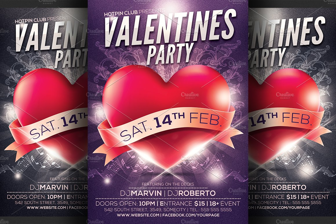 Valentines Day Party Flyer Template Flyer Templates Creative Market