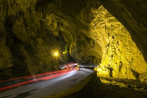 Car light trails in the cave