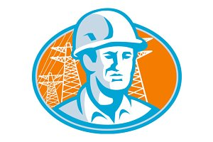 Construction Worker Engineer Pylons