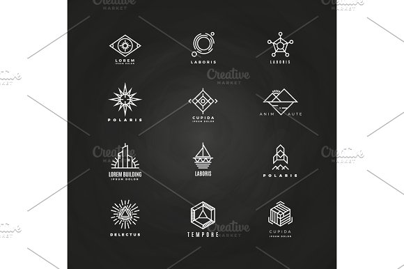 Vector Minimal Geometric Logo Set On Blackboard