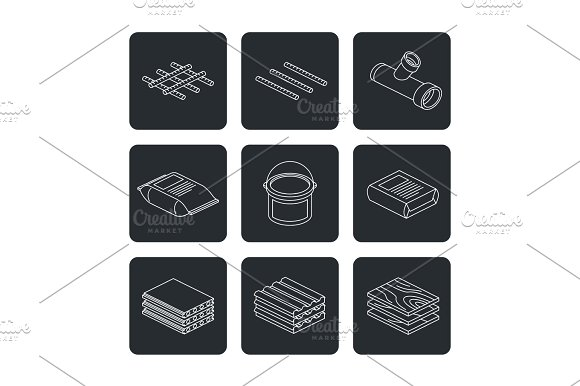 Building And Contruction Materials Icons Set