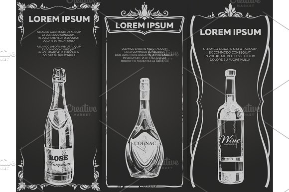 Hand Drawn Alcohol Drinks Banners Template