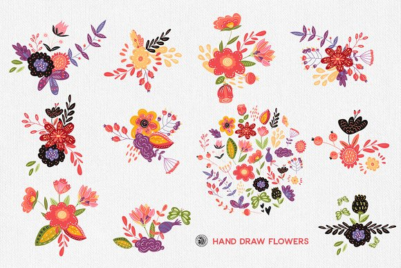 Hand Draw Flowers Illustrations Creative Market
