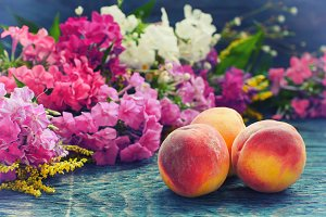 Peach with flowers