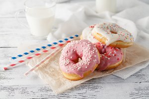 Donuts with glass of milk
