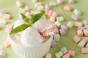 ice cream with mint in bowl