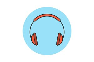 Headphones flat line icon