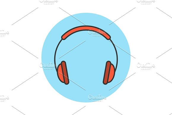Headphones Flat Line Icon