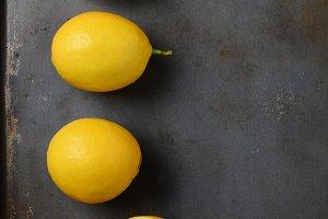 Lemons on Metal Baking Sheet
