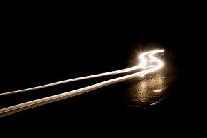white car lights at night