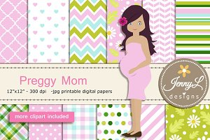 Pregnant Mom Digital papers Clipart