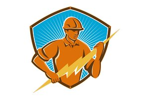 Electrician Construction Worker Retr