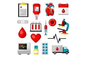 Set of blood donation items. Medical and health care objects