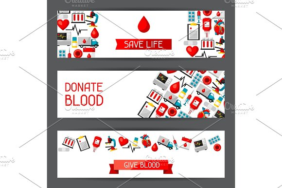 Banners With Blood Donation Items Medical And Health Care Objects