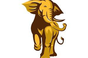 african bull elephant charging retro