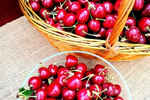 Fresh cherries in basket