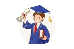 Student in graduate suit with diploma and book