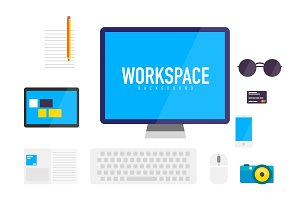 Flat design workspace background