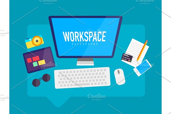 Flat Design Workspace In Messaging Cloud Box