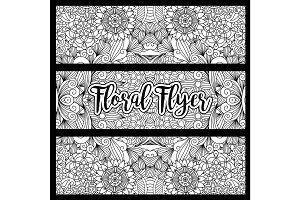 Horizontal floral flyer with handdrawn pattern