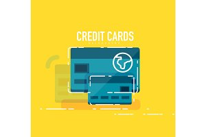 Flat design credit card concept