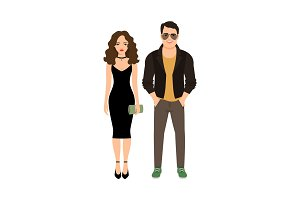 Fashionable couple isolated icon