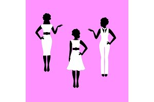 Fashion woman model silhouettes set