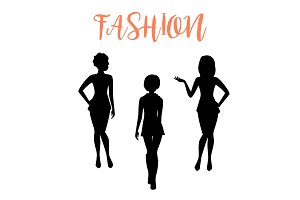 Fashion woman silhouette in tight dresses